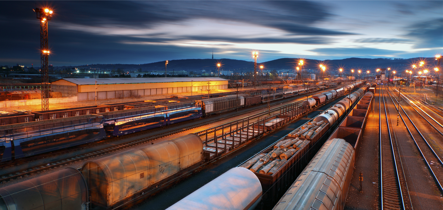 Freight Trains and Railways at twilight